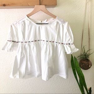 Zara jeweled white top